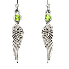0.61cts natural green peridot 925 silver dangle feather charm earrings r7126