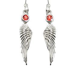 0.69cts natural red garnet 925 sterling silver feather charm earrings r7128