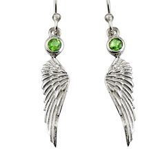 0.62cts natural green peridot 925 silver dangle feather charm earrings r7131