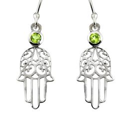 0.56cts natural green peridot 925 silver hand of god hamsa earrings r7137