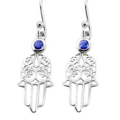 925 sterling silver 0.51cts natural blue iolite hand of god hamsa earrings r7140