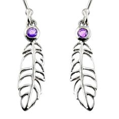 0.68cts natural purple amethyst 925 silver dangle feather charm earrings r7142