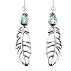 0.67cts natural blue topaz 925 sterling silver feather charm earrings r7143