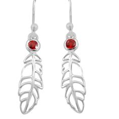 925 silver 0.68cts natural red garnet dangle feather charm earrings r7147