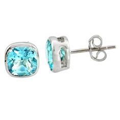 4.44cts natural blue topaz 925 sterling silver stud earrings jewelry r7150