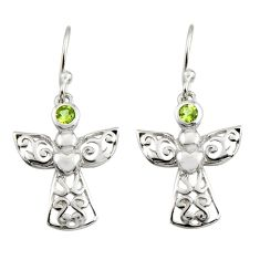 0.74cts natural green peridot 925 sterling silver dangle earrings jewelry r7405
