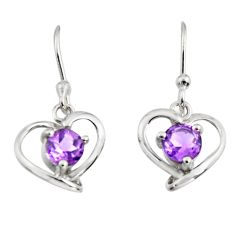 2.28cts natural purple amethyst 925 sterling silver dangle heart earrings r7408