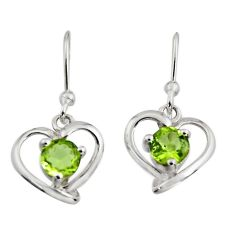 1.81cts natural green peridot 925 sterling silver heart earrings jewelry r7413