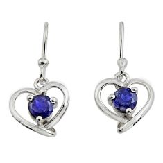 1.79cts natural blue iolite 925 sterling silver dangle heart earrings r7418