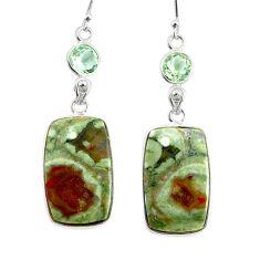 18.39cts natural rainforest rhyolite jasper 925 silver dangle earrings r75509
