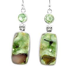 925 silver 19.00cts natural green rainforest rhyolite jasper earrings r75517
