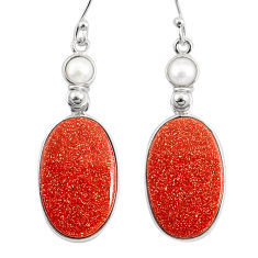 19.09cts natural brown goldstone pearl 925 silver dangle earrings r75553