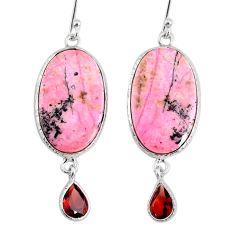 20.37cts natural rhodonite in black manganese 925 silver dangle earrings r75626