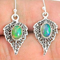 2.90cts natural multi color ethiopian opal silver deltoid leaf earrings r76251