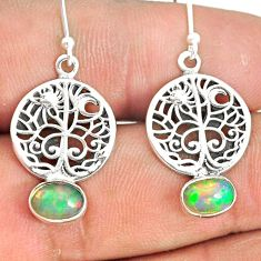 925 silver 2.93cts natural ethiopian opal tree of life earrings jewelry r76260