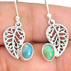 2.96cts natural multicolor ethiopian opal silver deltoid leaf earrings r76273