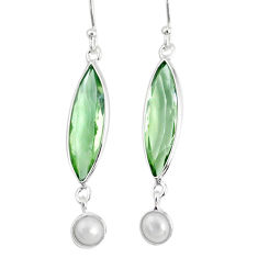 925 sterling silver 9.88cts natural green amethyst pearl dangle earrings r76697