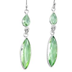 11.80cts natural green amethyst pearl 925 sterling silver dangle earrings r76699