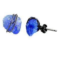 11.26cts rhodium natural blue tanzanite raw 925 silver stud earrings r79642