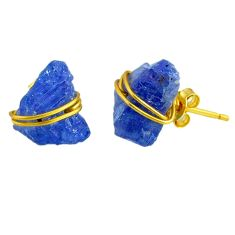 10.50cts rough natural blue tanzanite raw 14k gold handmade stud earrings r79760