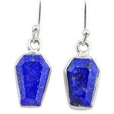 8.46cts coffin natural blue lapis lazuli 925 silver dangle earrings r79990