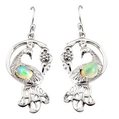 3.25cts natural multi color ethiopian opal 925 silver peacock earrings r8802