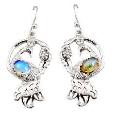 3.14cts natural multi color ethiopian opal 925 silver peacock earrings r8803