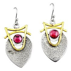 2.10cts victorian natural red garnet 925 silver two tone dangle earrings r9001