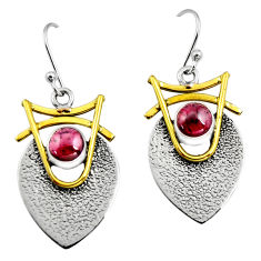 2.28cts victorian natural red garnet 925 silver two tone dangle earrings r9002
