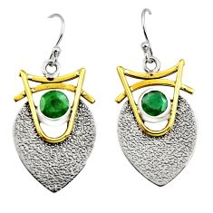 2.10cts victorian natural green emerald silver two tone dangle earrings r9003