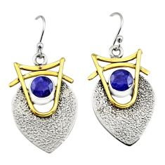 925 silver 2.10cts victorian natural sapphire two tone dangle earrings r9005