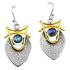 2.10cts victorian natural blue labradorite 925 silver two tone earrings r9008