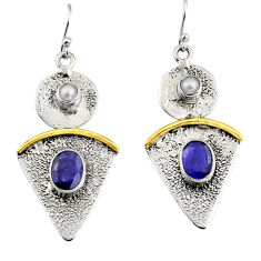 5.35cts victorian natural blue sapphire 925 silver two tone earrings r9014