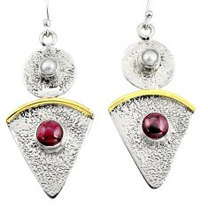 4.68cts victorian natural red garnet 925 silver two tone dangle earrings r9015