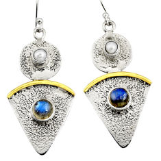 4.38cts victorian natural blue labradorite 925 silver two tone earrings r9016