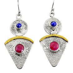 925 silver 3.89cts victorian natural red ruby two tone dangle earrings r9019
