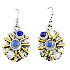 5.30cts victorian natural blue labradorite 925 silver two tone earrings r9026