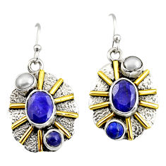 6.32cts victorian natural blue sapphire pearl 925 silver two tone earrings r9030