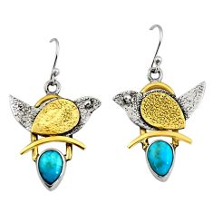 4.38cts victorian blue arizona mohave turquoise silver two tone earrings r9037