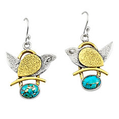 4.12cts victorian blue copper turquoise 925 silver two tone earrings r9038