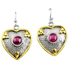 2.36cts victorian natural red garnet 925 silver two tone heart earrings r9041