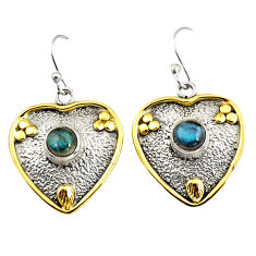 2.20cts victorian natural labradorite 925 silver two tone heart earrings r9047