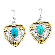 4.21cts victorian blue arizona mohave turquoise silver two tone earrings r9048