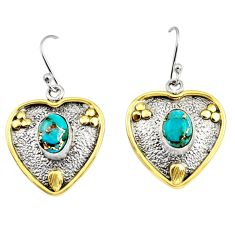 4.21cts victorian blue copper turquoise 925 silver two tone heart earrings r9049