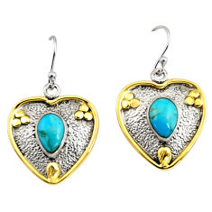 5.08cts victorian blue arizona mohave turquoise silver two tone earrings r9050
