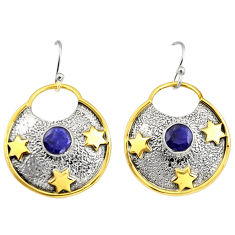 925 silver 2.36cts victorian natural blue sapphire two tone star earrings r9055