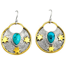 3.91cts victorian blue arizona mohave turquoise silver two tone earrings r9059