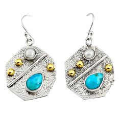 5.38cts victorian arizona mohave turquoise pearl silver two tone earrings r9065