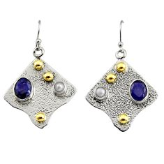 925 silver 4.91cts victorian natural blue sapphire two tone earrings r9069