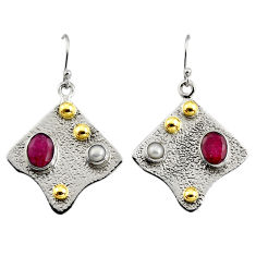 4.91cts victorian natural red ruby 925 silver two tone dangle earrings r9070